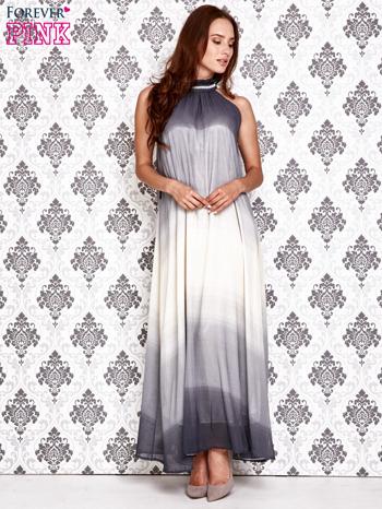 Granatowa sukienka maxi z wiązaniem na plecach                                  zdj.                                  2