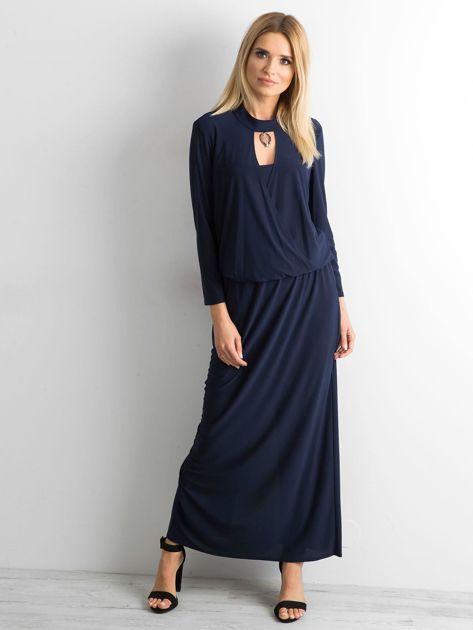 Granatowa sukienka maxi z wycięciem                              zdj.                              1