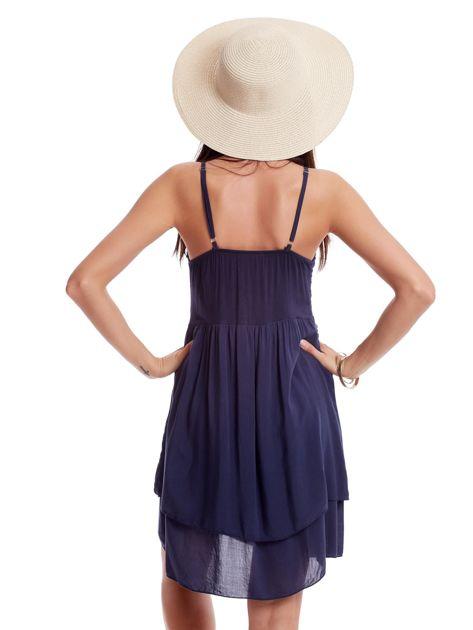 Granatowa sukienka na cienkich ramiączkach                              zdj.                              2