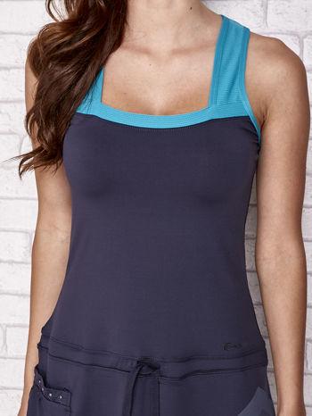 Granatowa sukienka sportowa z niebieskimi wstawkami                                  zdj.                                  6