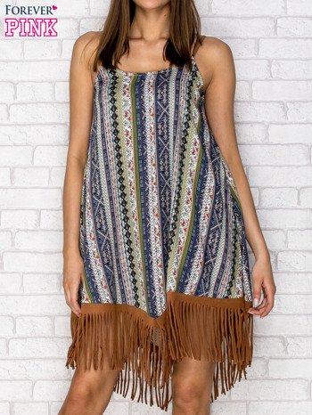 Granatowa sukienka w etniczne wzory z frędzlami                                  zdj.                                  1
