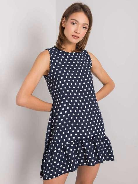 Granatowa sukienka w groszki Nicollete RUE PARIS