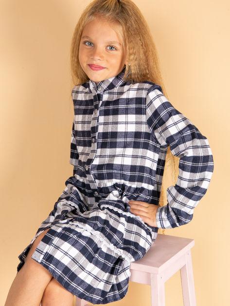 Granatowa sukienka w kratę dla dziewczynki                              zdj.                              2