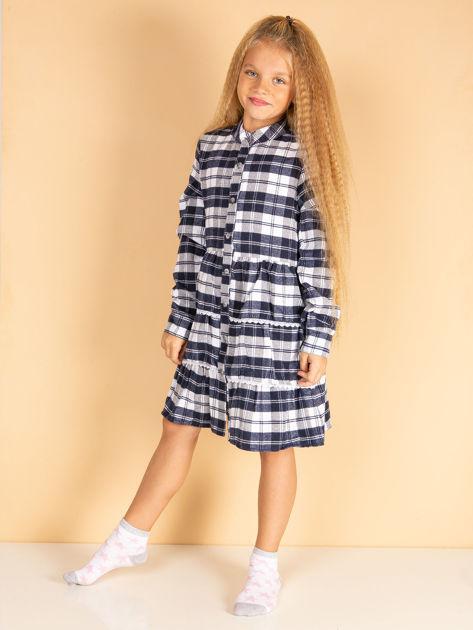 Granatowa sukienka w kratę dla dziewczynki                              zdj.                              3