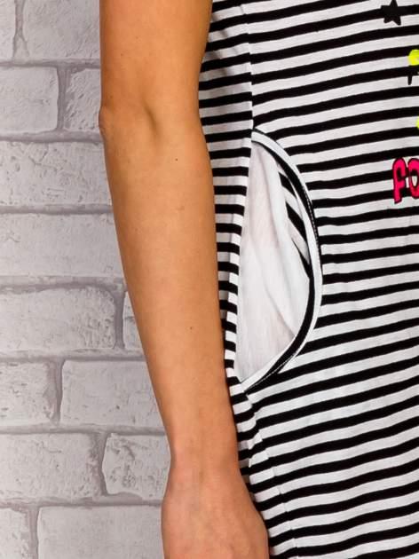 Granatowa sukienka w paski z napisem TIME IS UP                                  zdj.                                  6