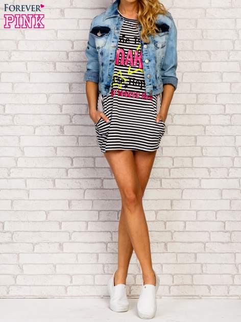 Granatowa sukienka w paski z napisem TIME IS UP                                  zdj.                                  1