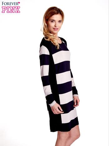 Granatowa sukienka w szerokie pasy                                  zdj.                                  3