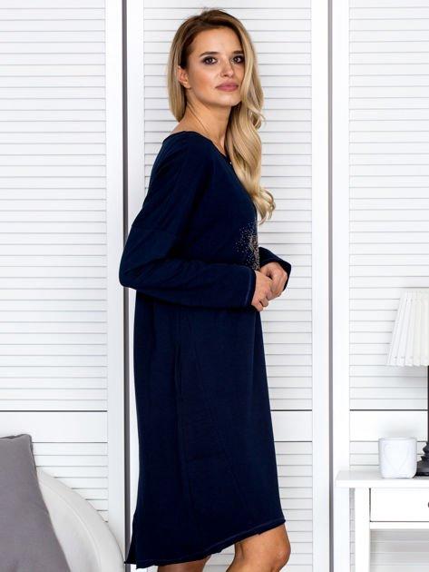 Granatowa sukienka z gwiazdą                               zdj.                              3