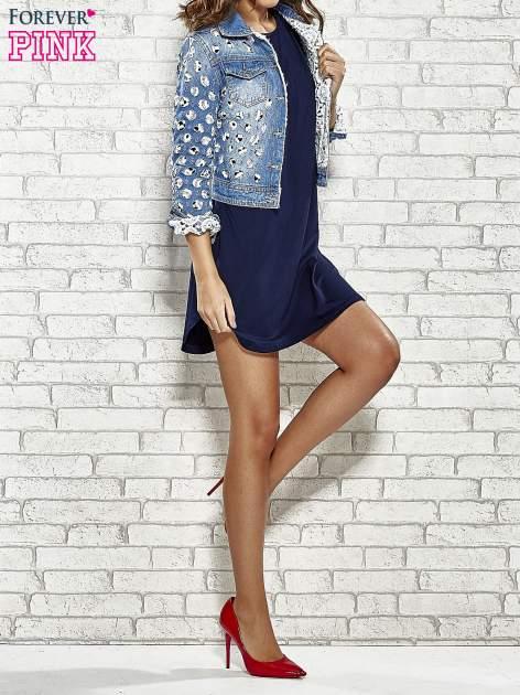 Granatowa sukienka z rozporkami po bokach                                  zdj.                                  3