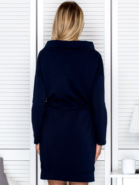 Granatowa sukienka z wstążkami                               zdj.                              2