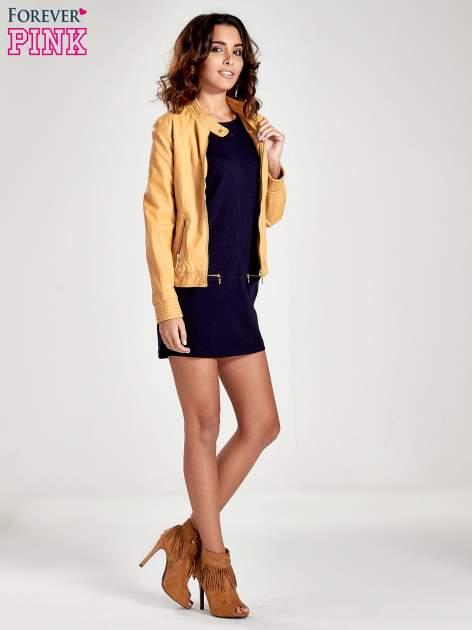 Granatowa sukienka ze złotymi suwakami                                  zdj.                                  2