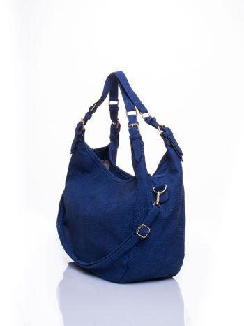Granatowa torba hobo z klamerkami                                  zdj.                                  3