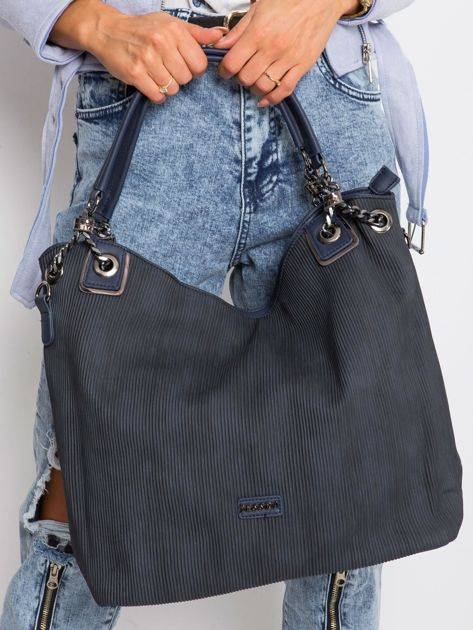 Granatowa torebka shopper                              zdj.                              2