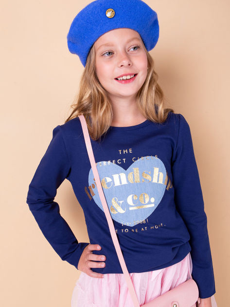 Granatowa tunika dziewczęca z naszywką                              zdj.                              1