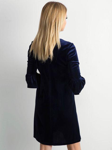 Granatowa welurowa sukienka damska                              zdj.                              2