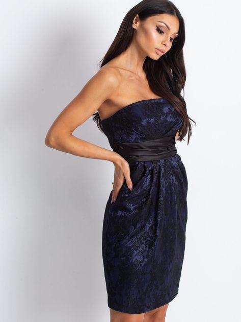Granatowa wieczorowa sukienka z koronką i wiązaniem                              zdj.                              3