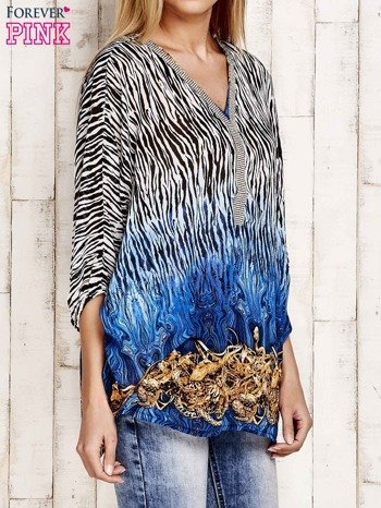 Granatowa wzorzysta koszula oversize z dekoltem z cyrkonii                                  zdj.                                  3