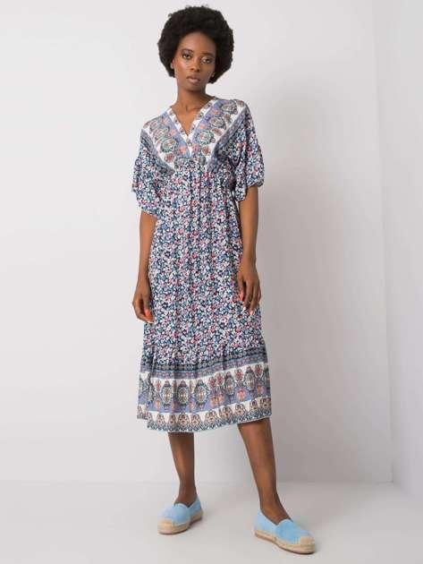 Granatowa wzorzysta sukienka Selkie