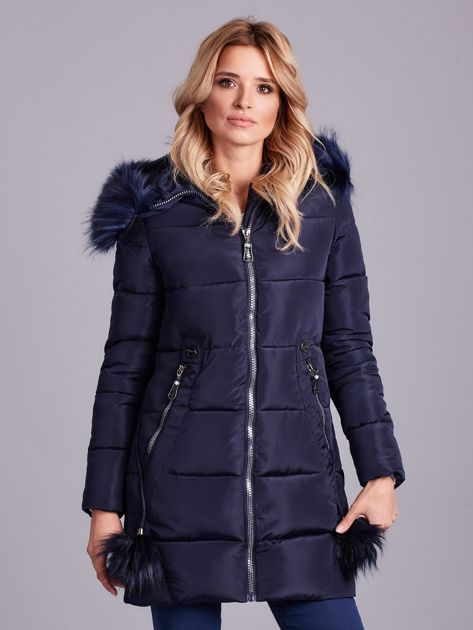 Granatowa zimowa kurtka damska z futerkiem                              zdj.                              2
