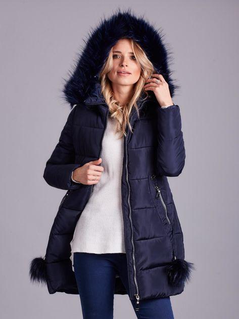 Granatowa zimowa kurtka damska z futerkiem                              zdj.                              7