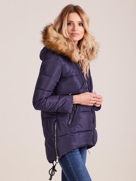 Granatowa zimowa kurtka z futerkiem                              zdj.                              3