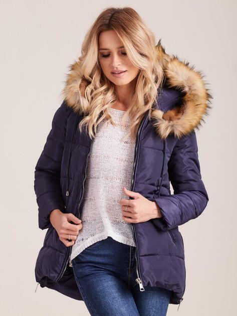 Granatowa zimowa kurtka z futerkiem                              zdj.                              6