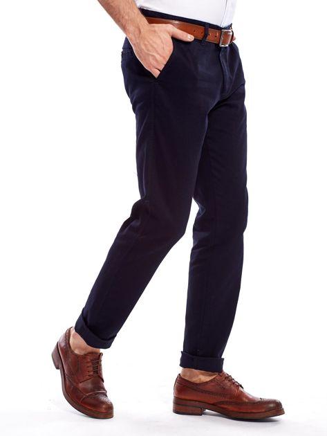 Granatowe bawełniane spodnie męskie                               zdj.                              6