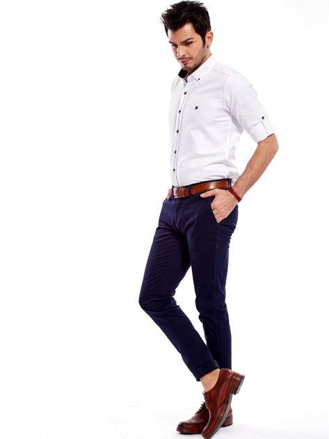 Granatowe bawełniane spodnie męskie chinosy                               zdj.                              11