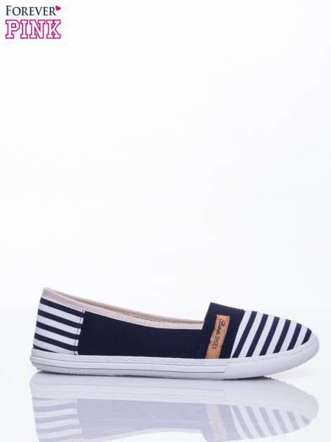 Granatowe buty sliponki w paski                                  zdj.                                  2