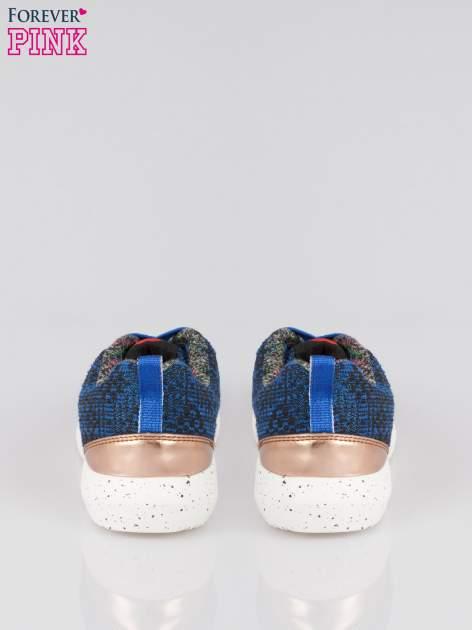 Granatowe buty sportowe dual material Level Up z tweedu                                  zdj.                                  3