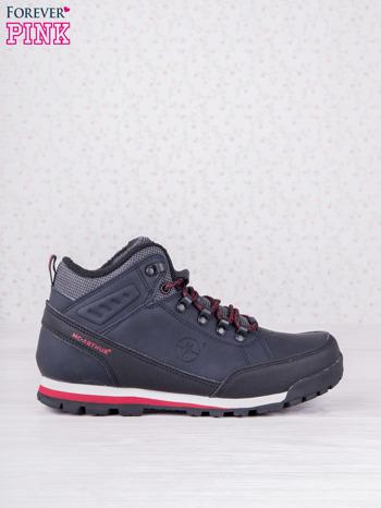 Granatowe buty sportowe eco leather Tour z czerwonymi wstawkami i przeszyciami                                  zdj.                                  1