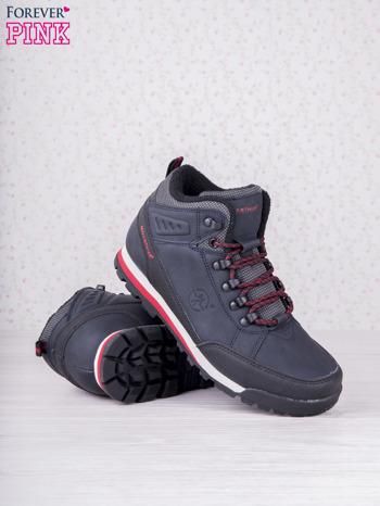 Granatowe buty sportowe eco leather Tour z czerwonymi wstawkami i przeszyciami                                  zdj.                                  3