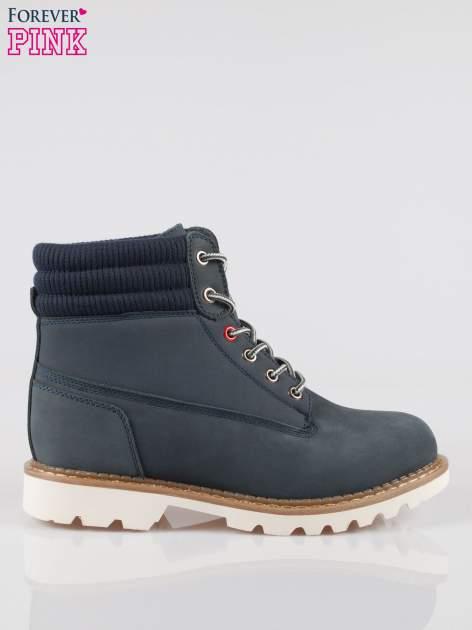 Granatowe buty trekkingowe traperki damskie z elastycznym kołnierzem ze skóry naturalnej