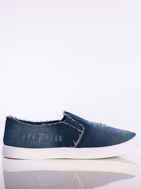 Granatowe denim jeansowe slip-ony na płaskiej podeszwie