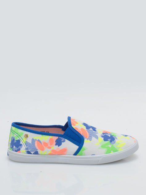 Granatowe kwiatowe buty slip-on                                  zdj.                                  1