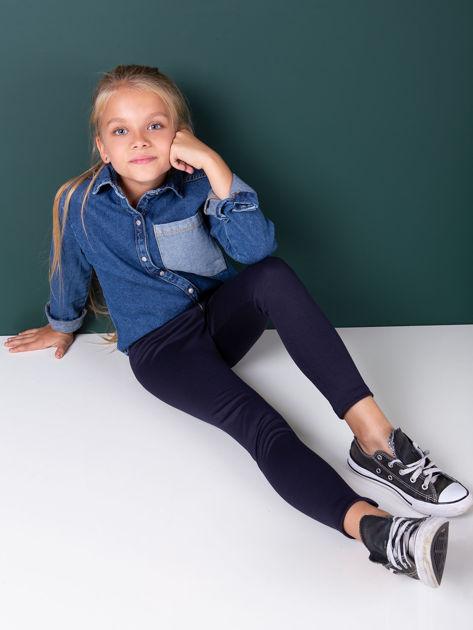 Granatowe legginsy dziewczęce zapinane na suwak                              zdj.                              1