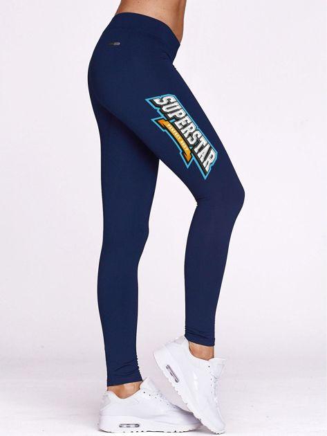 Granatowe legginsy na siłownię z nadrukiem SUPERSTAR                                  zdj.                                  1