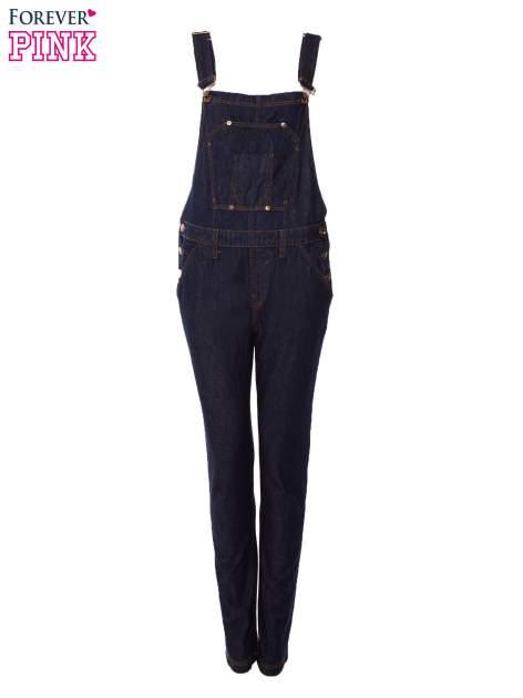 Granatowe ogrodniczki jeansowe z kieszeniami                                  zdj.                                  1