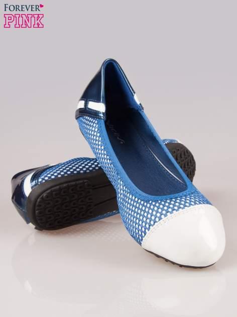 Granatowe siateczkowe baleriny faux leather Selena na gumkę                                  zdj.                                  4