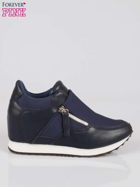 Granatowe sneakersy damskie z suwakiem                                  zdj.                                  1