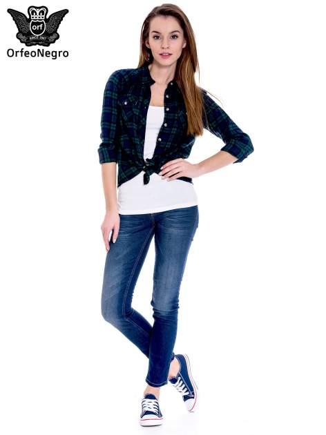 Granatowe spodnie jeansowe rurki z cieniowaniem                                  zdj.                                  2