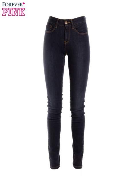 Granatowe spodnie jeansowe z wysokim stanem