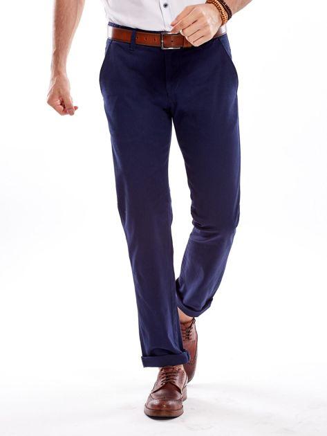 Granatowe spodnie męskie regular                              zdj.                              7