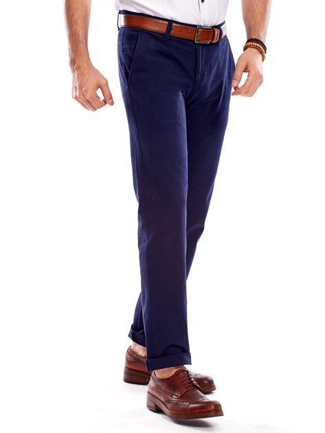Granatowe spodnie męskie regular                              zdj.                              3