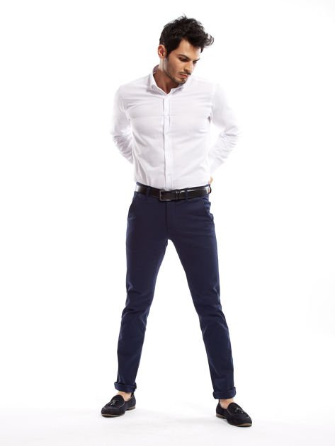 Granatowe spodnie męskie slim fit                              zdj.                              14