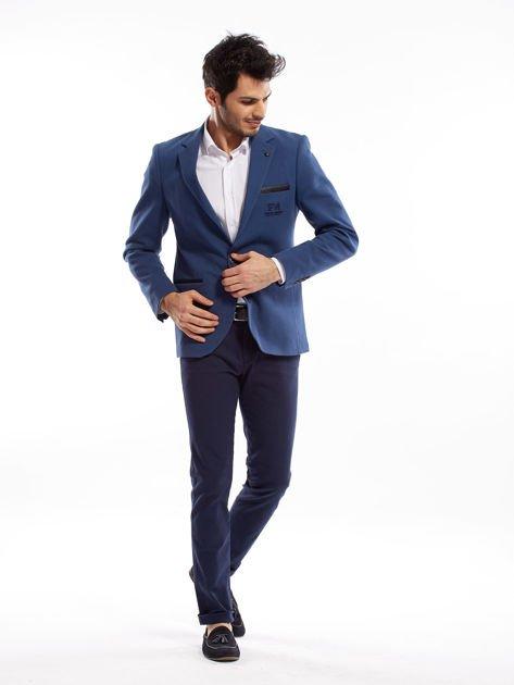 Granatowe spodnie męskie slim fit                              zdj.                              11