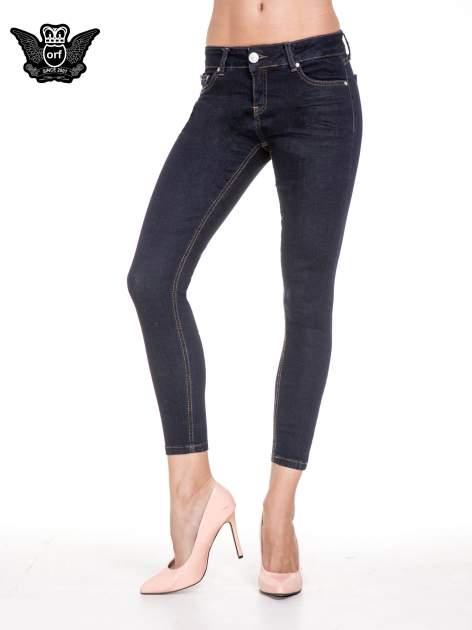Granatowe spodnie super skinny jeans długości 7/8