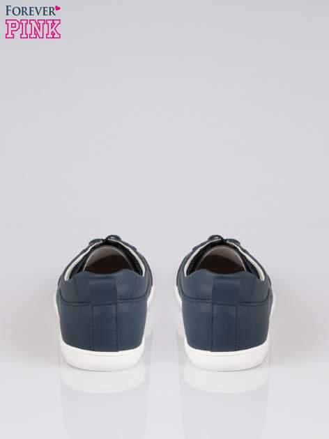 Granatowe sznurowane buty sportowe faux leather Thirsty                                  zdj.                                  3