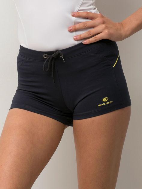 Granatowe szorty sportowe z żółtą wstawką                              zdj.                              5