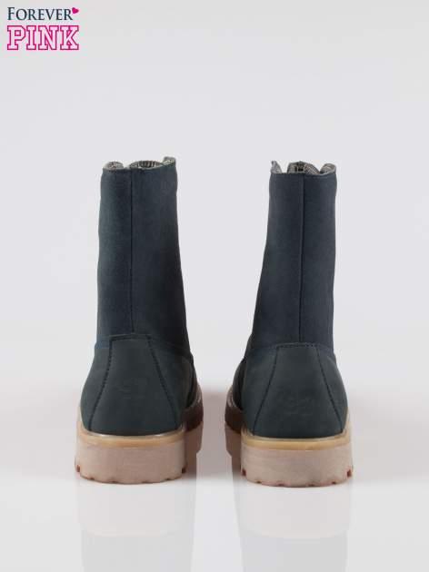 Granatowe wysokie buty trekkingowe traperki damskie ze skóry naturalnej                                  zdj.                                  3